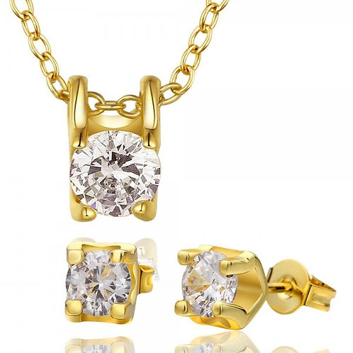 Roxanne Diamond Gold Necklace and Earrings Set