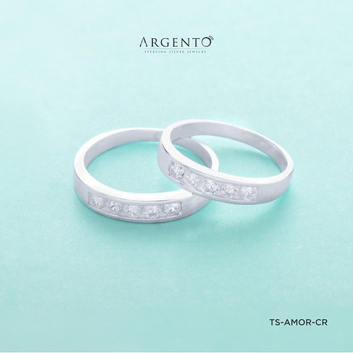 Amore with 5 Stones 925 Silver Couple Rings by Argento