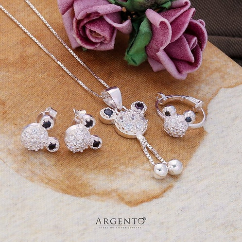 Micky Mouse 925 Sterling Silver Kid Set by Argento