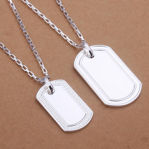 Michael and Michelle Dog Tag Couple 925 Silver Plated Necklace