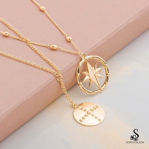 Daliah Stainless Steel Gold Plated Double Layered Necklace