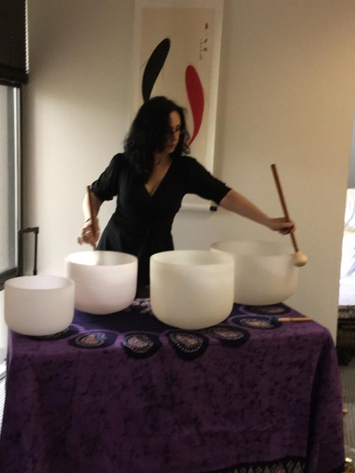 Playing Crystal Bowls at Many Rivers Acupuncture 2