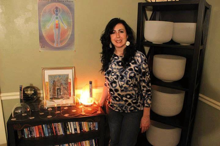 Me in my healing room with my crystal bowls