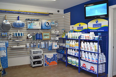 Secondary view of Pressure Clean Pools showroom with various pool products