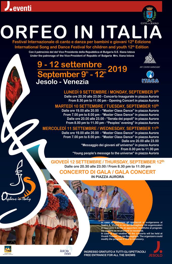 """FESTIVAL INTERNAZIONALE PER BAMBINI E GIOVANI """"ORFEO IN ITALIA"""" 12^ edizione"""