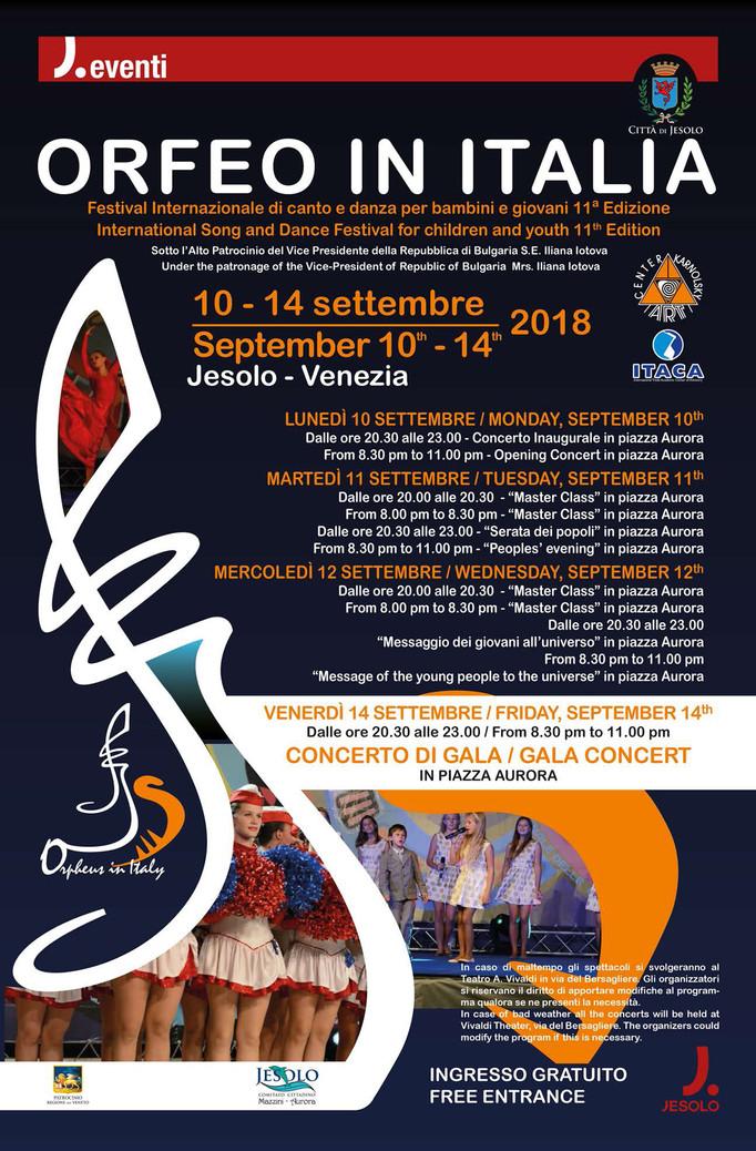 """""""ORFEO IN ITALIA"""" 11^ edizione Festival Internazionale  di canto e danza per bambini e gio"""