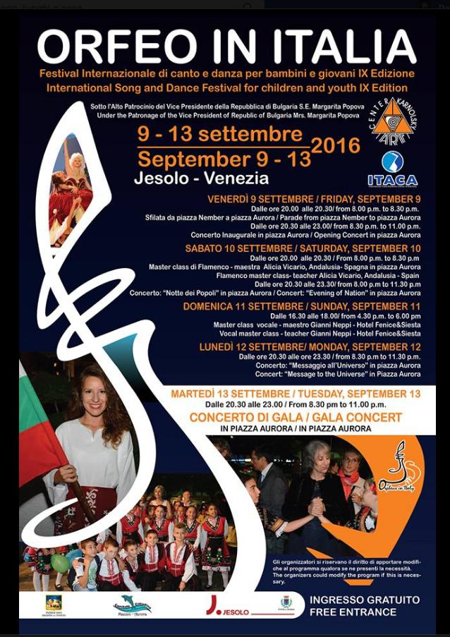 """""""ORFEO IN ITALIA"""" 9^ edizione Festival Internazionale  di canto e danza per bambini e giov"""