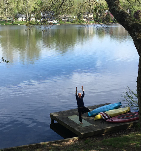Yoga on the dock at home