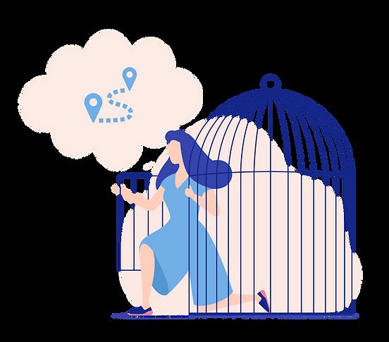 Tegning af kvinde som kommer ud af et bur