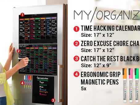 Magnetic Calendar, Chore Chart & Chalkboard For Fridge