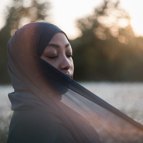 Portrait photo shoot at sunset in Oadby with a Muslim girl