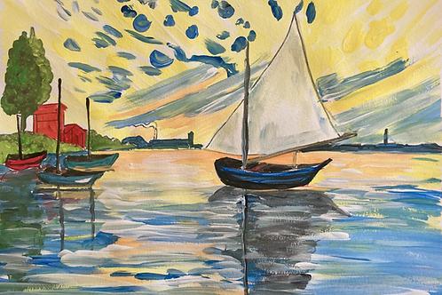 ART BOX: Monet Sailboats