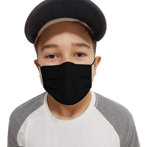 Máscara De Tecido com Íons de Prata e Clip Nasal Preta Infantil com 05 Unidades