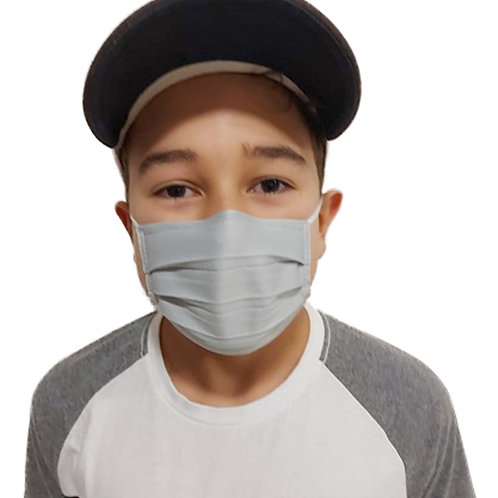 Máscara De Tecido com Íons de Prata e Clip Nasal Infantil Cinza com 05 Unidades