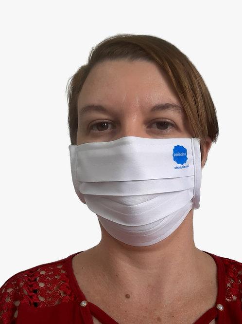 Máscara De Tecido com Íons de Prata e Clip Nasal Com LOGOMARCA com 05 Unidades