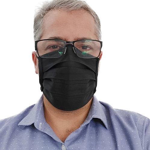 Máscara De Tecido com Íons de Prata e Clip Nasal Preta com 10 Unidades