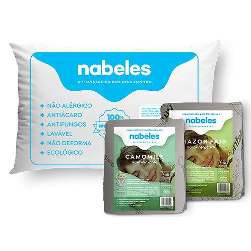 Kit 1 Travesseiro Nabeles Tex 50x70 + 1 capa Camomile + 1 Capa Amazonfair