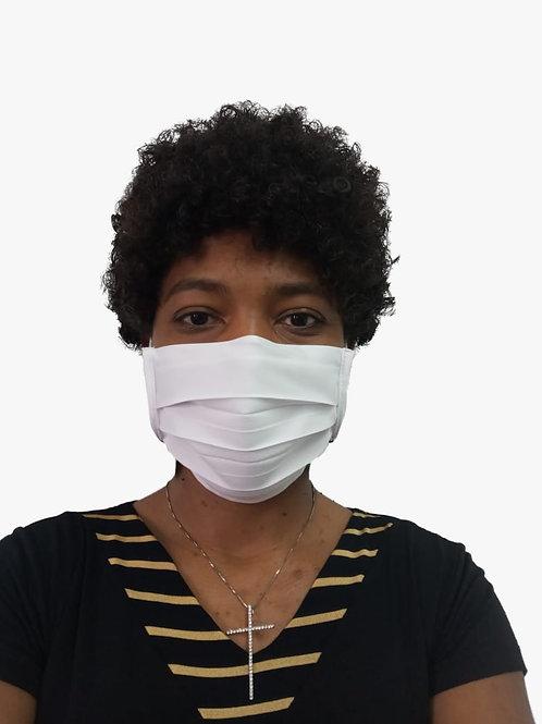 Máscara De Tecido com Íons de Prata e Clip Nasal Branca com 05 Unidades