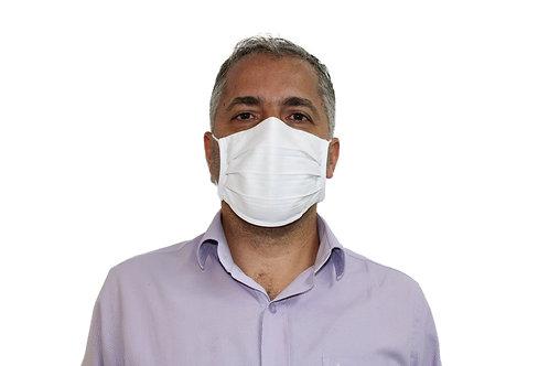 Máscara De Tecido com Íons de Prata e Clip Nasal Branca com 10 Unidades