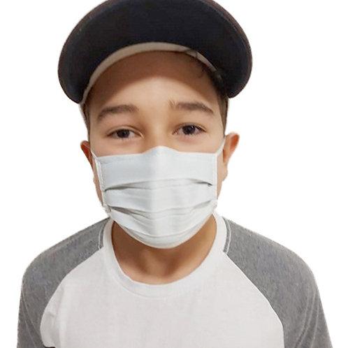 Máscara De Tecido com Íons de Prata e Clip Nasal Branca Infantil com 05 Unidades