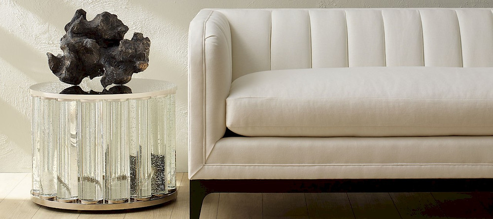Baker White Couch and Crystal Table