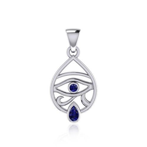 Eye of Horus Silver Pendant with Gemstone