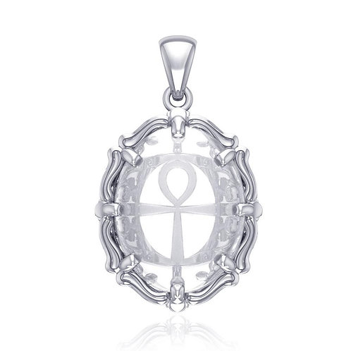 Ankh Sterling Silver Pendant with Natural Clear Quartz