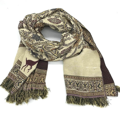 Floral Scarf / Shawl - Brown
