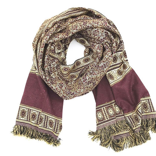 Patterned Scarf - Maroon