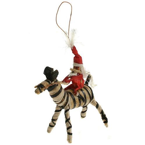 Santa on zebra Christmas Tree decoration