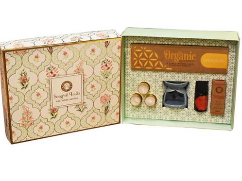 Meditation / Pooja Organic Goodness Gift Box - Incense Cones, Burner, T Lights,