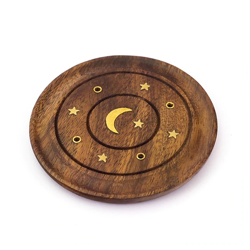 Small Incense Burner Plate - Moon & Star Inlay