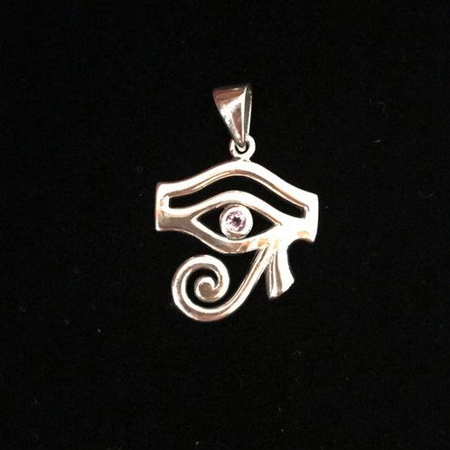 Silver Eye of Horus Gemstone Pendant - Amethyst