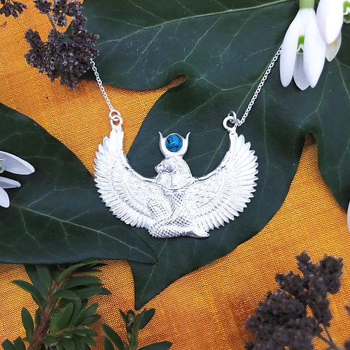 Unique winged Sekhmet Pendant Necklace with Turquoise