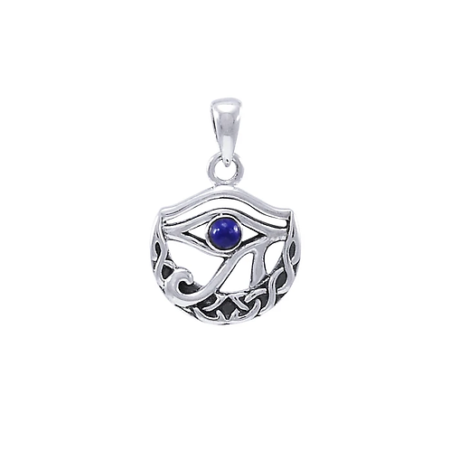 Eye of Horus with Knot Crescent Moon Pendant