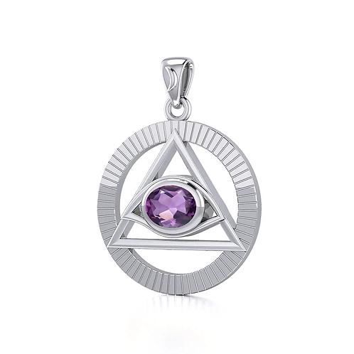 Eye of The Pyramid Silver Pendant - Amethyst