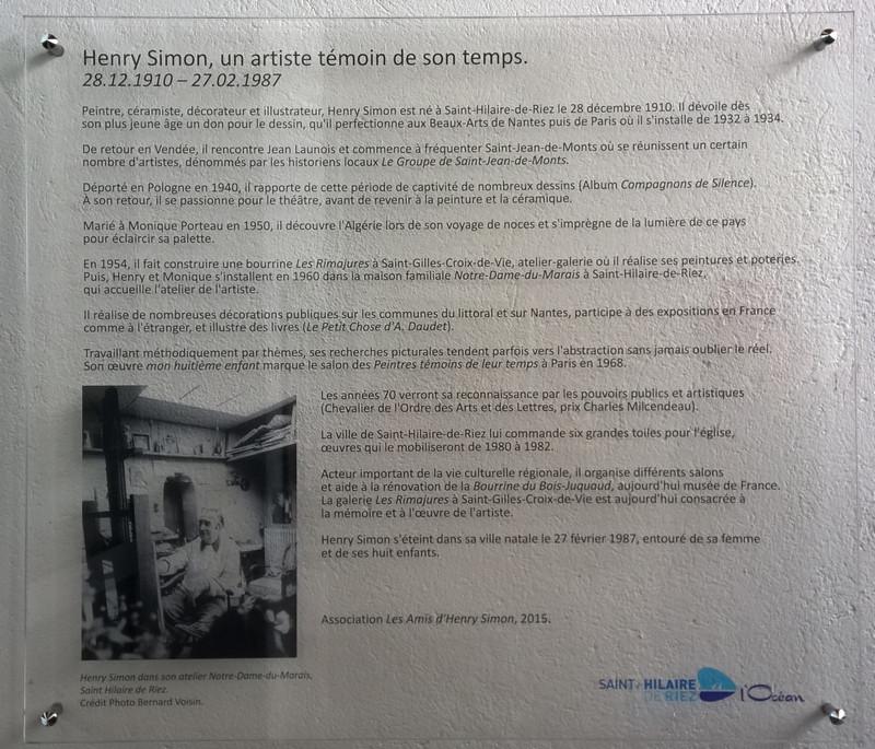 Plaque biograpique Henry Simon - Ecoles Henry Simon - Saint-Hialire-de-Riez, Vendée, France