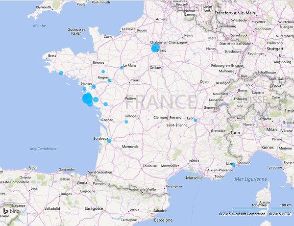 Représentation géographique des adhérents à l'association les Amis d'Henry Simon