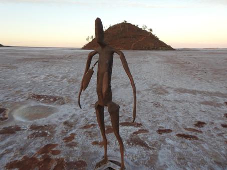 The INSIDE AUSTRALIA statues at Lake Ballard, Western Australia