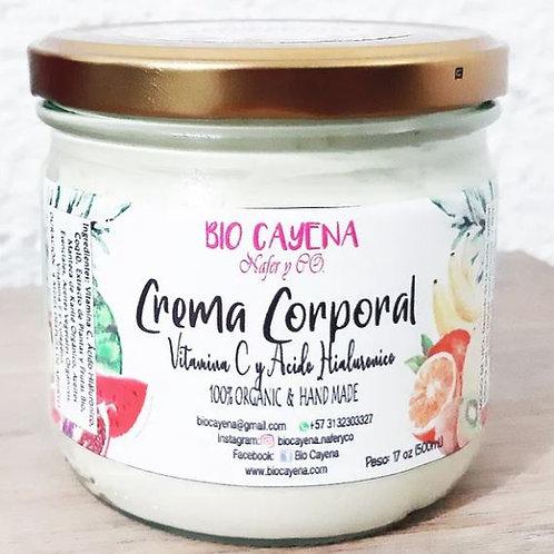 Crema corporal. Vitamina C y Ácido hialurónico