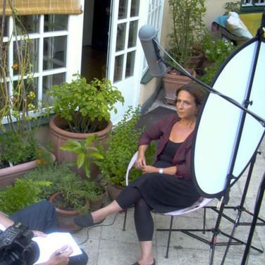 Director, Harry Hunkele (left) interviews Patricia Kahane, daughter of Karl Kahane.