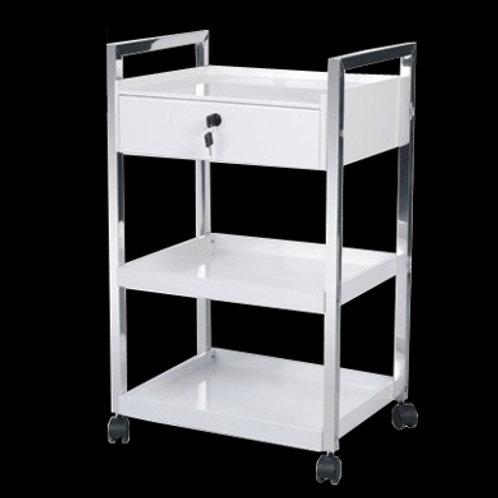 三層不銹鋼架美容儀器推車 (有櫃桶)