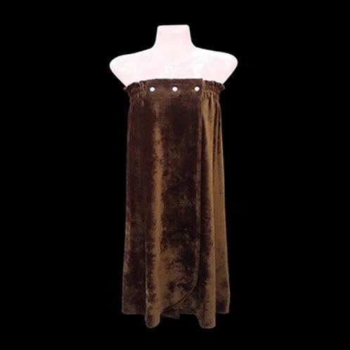 南韓絨開胸浴裙 (啪鈕款)