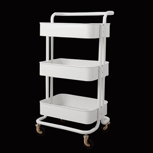 三層鋼架美容用品推車 (有扶手)