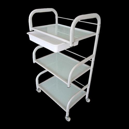 三層玻璃板美容用品推車 (有櫃桶)