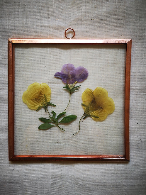 Handmade copper frame with yellow & purple flowrers