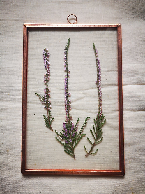 Handmade Copper Frame with light purple Heather