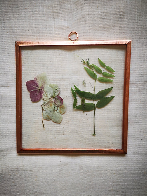 Copper frame with hydrangea and leaves