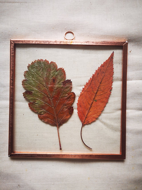 Handmade Copper Frame with autumn leaves