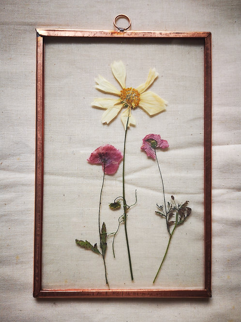 Handmade Copper Frame with poppies and white cosmos